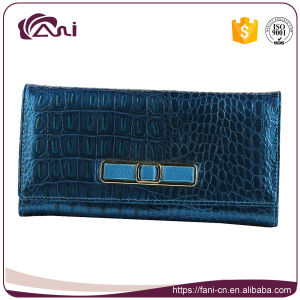 Leather Elegance Wallets for Women, Blue Crocodile Grain Lady Wallet with High Quality pictures & photos