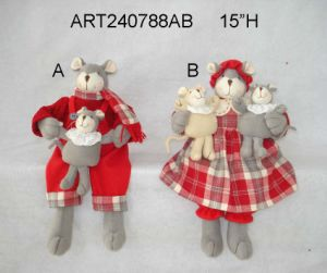 "8""H Christmas Decoration Mouse Couple Holding Babies-2asst pictures & photos"