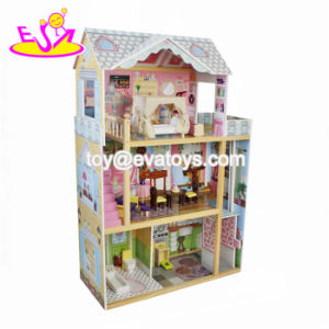 Best Design Luxurious Three Floors Wooden Kids Modern Dollhouse with Furniture W06A247 pictures & photos