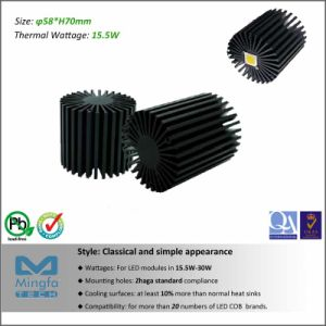 Diameter 58mm Height 70mm Thermal Resistance Rth 2.9 C/W CREE LED Aluminum Heat Sink