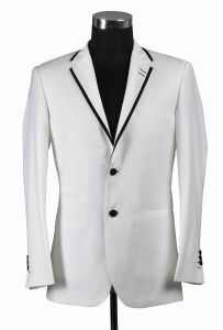 White Color 2 Button Men Suit with Black Piping