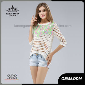 3/4 Sleeve Hi-Lo Hem Net Knitted Pullover Sweater pictures & photos