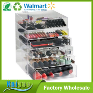 Large 6 Tier Clear Acrylic Cosmetic Makeup Cube Organizer with 5 Drawers pictures & photos