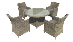 5PCS Dining Set Round Table Modern Chair Rattan Wicker Furniture
