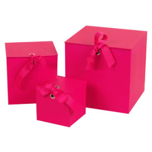 Red Cardboard Gift Box with Ribbon Tie