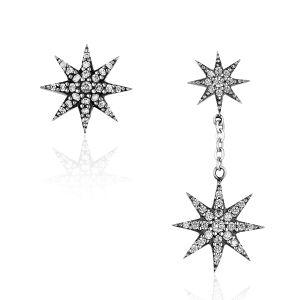Sterling Silver Jewelry By CS-DB White Water Drop Pearl Cubic Zirconia Waves Stud Earrings