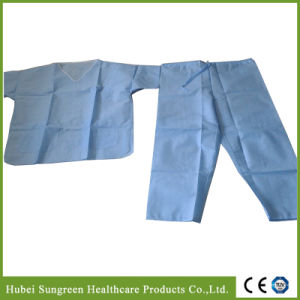 Light Blue SMS Scrub Suit with White Binding, Three Pockets pictures & photos