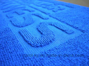 100% Cotton Woven Embossed Jacquard Logo Beach Towel pictures & photos