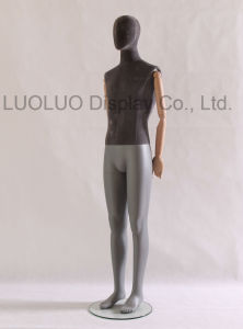 High Grade Linen Wrapped Male Mannequin with Wooden Arms