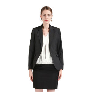 Black Classical Design Tr Ladies Business Suit Jacket with One-Button pictures & photos