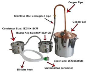 Alcohol Distiller Liquor Wine Brewing Device Copper Home Brew Equipment