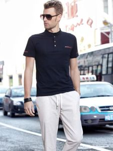 Men′s Fashion Stand Collar Polo T-Shirt pictures & photos