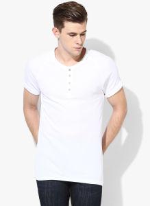cc5f1f8336 Men Plain White Solid Henley T-Shirt