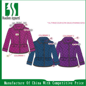 Girl's Quilted Jacket with Corduroy Binding