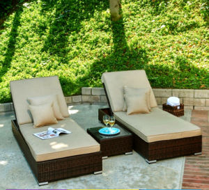 Beach Swimming Pool Outdoor Lounger Chair Wicker Rattan Sun Bed T520