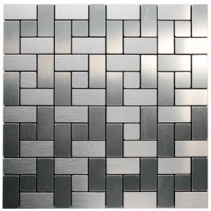 Mosaic Wiredrawing Silver Metallic Wall Tiles Sticker DIY Kitchen Backsplash Interior Home Decoration