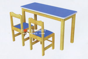 Comfortable Wooden Double Desk and Chair for Daycare (SF-21K-3) pictures & photos