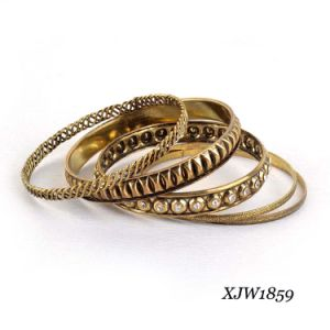 Antique Brass Iron with Diamond Bangle Sets (XJW1859)