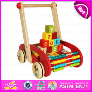 Wooden Block Trolly Baby Walker Push Along, Multi-Functional Colorful Wooden Big Baby Walker with Blocks W16e046 pictures & photos