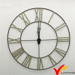 New Design Anatique Decorate Roman Numeral Large Round Metal Wall Clock pictures & photos