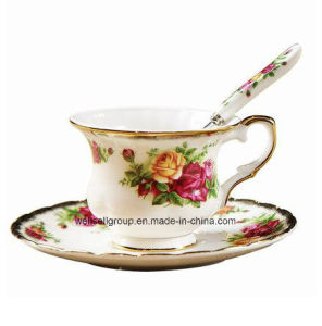 Top Bone China Floral Design Mug with Plate Spoon (CPBZ-4018) pictures & photos