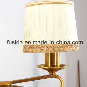 Arabian Bronze Chandelier Lights with White and Gold Fabric Shade D-6017/3 pictures & photos