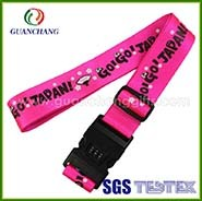Personalized Polyester Self-Tightening Custom Logo Printed Tsa Target Luggage Fasten Strap with Digital Tsa Lock Scale