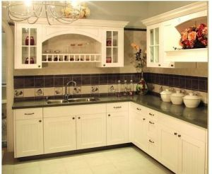 Solid Wood Kitchen Cabinet (white 6) pictures & photos