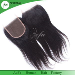 Natural Soft Silk Long Virgin Brazilian Remy Hair Closure pictures & photos