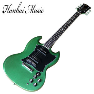 Hanhai Music / Sg Style Green Electric Guitar with P90 Pickups pictures & photos