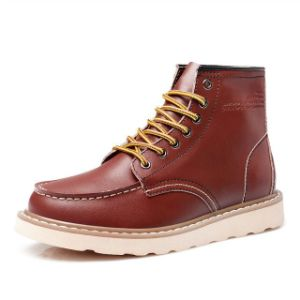 High Quality Man Lace up Leather Fashion Casual Boots Shoes (WH0078)