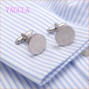 VAGULA New Arrival Rhodium Plated Laser Round Shirt Cuff Links pictures & photos