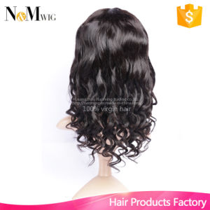 Indian Remy Human Hair Wig 130%/150% Density New Fashion Design Indian Natural Wave Bleached Knots Medium Brown Color Hair of Lace pictures & photos