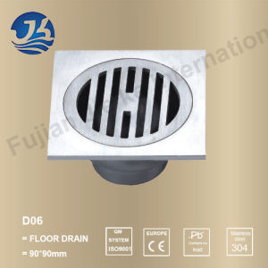 Concrete Stainless Steel Bathroom Square Floor Drain (D06)
