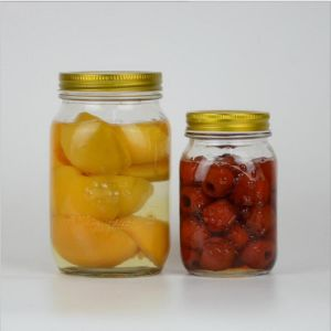 500ml Round Fruit Canned Food Glass Jar with Metal Lid