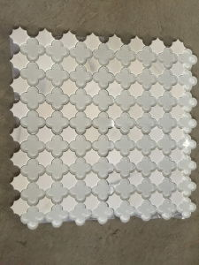 Thassos White Marble Mixed Glass Water Jet Mosaic for Wall Tile pictures & photos
