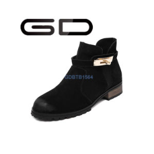 Warm Handsome Buckle Decoration Booties Shoes for Ladies