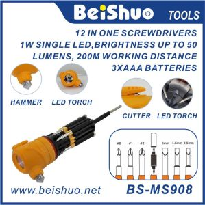 High Quality Multi Function Screwdriver with Cutter, Hammer, LED Light