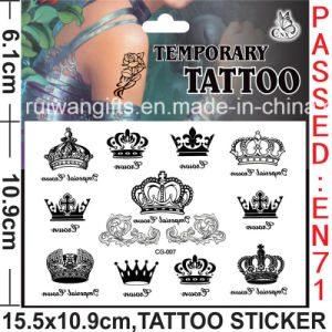 China Non Toxic Temporary Body Tattoo Sticker With Crown Design