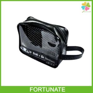 Black Functional Cosmetic Pipping PVC Zip Carrier Bag