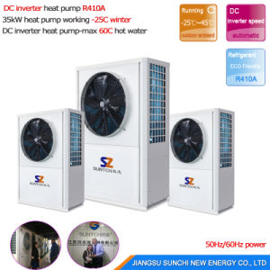 Cold -25c Winter Floor Heating + 55c Hot Water 25kw Underground Glycol Circle Loop DC Inverter Geothermal Heat Pump Package Unit pictures & photos
