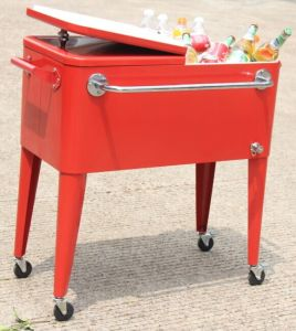 Rolling Patio Cooler Cart With Towel Rack