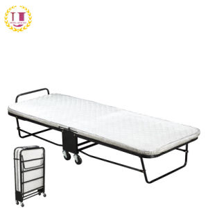 China Cot Size Folding Rollaway Guest Bed With Memory Foam