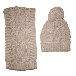 Ladies Chunky Knit Ombre Glove Hat Scarf Set pictures & photos