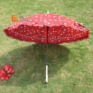 Straight Umbrella with Lace Piping and Carton Printing (YSS017B)