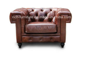 Leather Chesterfield Living Room Sofa with Square Arms (RF-5003) pictures & photos
