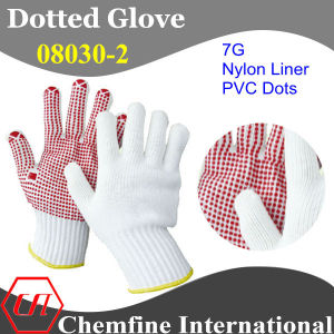 7g White Nylon Knitted Glove with Red PVC Dots pictures & photos