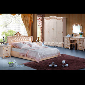 Beauty Classic Solid Wood Leather Bed (V805)