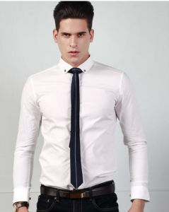 Men′s 100% Solid White Slim Fit Shirt pictures & photos