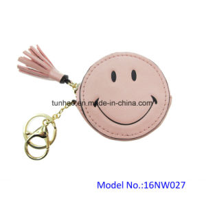 Mini Round Circle Smile Face Coin Pocket with Key Ring (16NW027A)